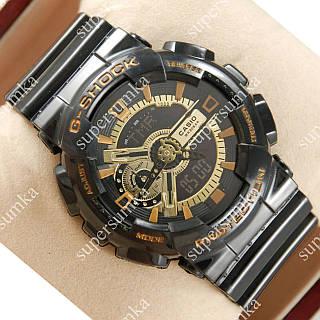 Стильные наручные часы Casio GA-110 Black/Black-gold/Brown 624