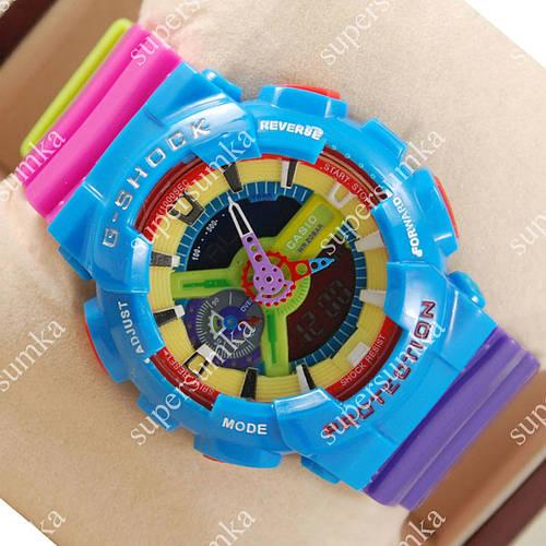 Разноцветные наручные спортивные часы Casio GA-110 Azure/Rose 628