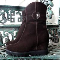 Ботинки женские замшевые коричневые на платформе. Зимний вариант