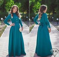 Платье  морская волна макси габардиновое