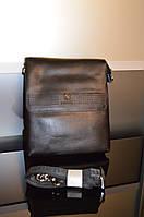 Мужская сумка 920-3 черная с кожаным клапаном и мелкими деталями из кожи