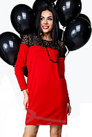 Платье из французского трикотажа с гипюром.