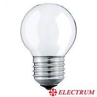 """Лампа накаливания """"Electrum"""" шар G45 40W E27 матовая"""