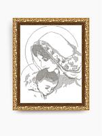Схема для вышивки бисером VKA3004-В Дева Мария с младенцем (монохром)