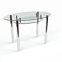 Стол обеденный из стекла модель Овальный прозрачный с полкой