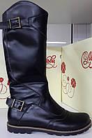 Черные кожаные сапоги на молнии, зима, пр-во г. Львов.Размер 31 32 33 35