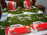 """Постельное для мальчиков """"Красная гоночная машина"""", тк. ранфорс рисунок 3Д"""