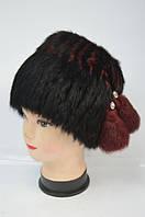 Меховая шапка - кубанка женская черная / бордо Модель 32