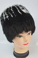 Женская меховая шапка - кубанка черная с белым Модель 36