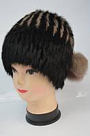 Женская меховая шапка - кубанка чернаяс коричневым Модель 37