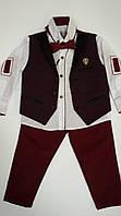 Детские костюмы для мальчиков, бордовый. 86-110