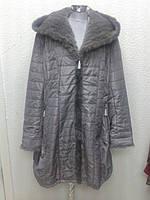 Пальто с мехом норки на верблюжьей шерсти Larssni женское большие размеры