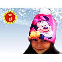 Зимняя детская шапка на девочку 50, 52  размер на флисе. Детская теплая шапка на девочку зима