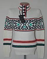 Нарядный теплый женский свитер - белый