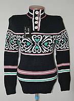 Модный теплый женский свитер - черный