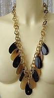 Ожерелье женское колье из рога ручная работа бижутерия 4185
