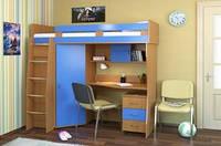 """Кровать чердак Детская со встроенным столом и шкафом """"Каприз"""""""