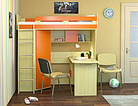 Детская кровать-горка, кровать-чердак с полками, шкафчиком и столом