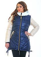 Молодежная женская куртка асимметричного кроя