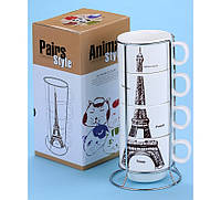 Набор чашек Опять хочу в Париж, Чашки Эйфелева башня 175 мл