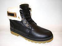 Ботинки зимние черные с белым мехом С368