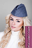 Элегантная женская шапочка с вуалью (серый)