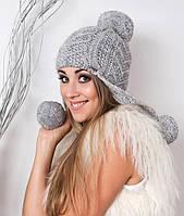 Модная вязанная шапка-ушанка, разные цвета