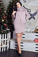 Теплое женское платье-туника большого размера из ангоры