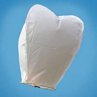 Небесный фонарик белый, в форме сердца