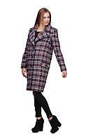 Женское утепленное демисезонное пальто в клетку с большим воротником