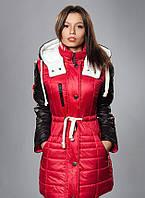 Зимняя женская молодежная куртка - парка, красная