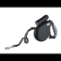 Поводок-рулетка со светодиодным фонариком FD3011-A (5м*40кг) черный