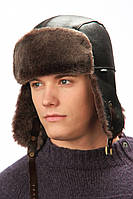 Мужская шапка-ушанка коричневая