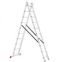 Лестница алюминиевая 2—х секционная универсальная раскладная 2x10ступ. 4.81м Intertool LT—0210
