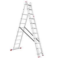 Лестница алюминиевая 3—х секционная универсальная раскладная 3x11ступ. 7.33м Intertool LT—0311