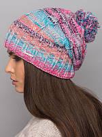 Зимняя шапка из многоцветной пряжи. Шапка женская. Шапка теплая. Шапка розовая.Шапка шерстяная. Шапка светлая.