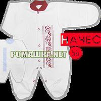 Человечек на кнопках с украинским орнаментом (принт), начес (футер), ТМ Алекс, р. 56, Украина