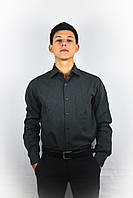 Классическая мужская рубашка темно-серого цвета
