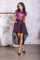 Стильное женское платье с кожей 2 расцветки