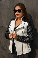 Пальто кашемировое с кожаными рукавами Николь белый