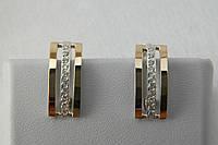 Серебряные серьги с золотом классика