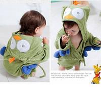 Банный короткий халат детский с капюшоном-зверюшка полотенце сова
