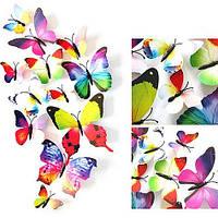 Бабочки на стене, интерьерные наклейки на стены радужные