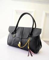 Женская стильная кожаная сумка саквояж.