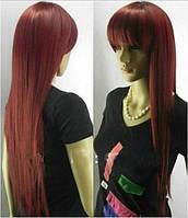 Парик искусственные волосы бордо прямые с челкой