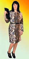 Батальное женское платье с цветочным  принтом пояс в комплекте
