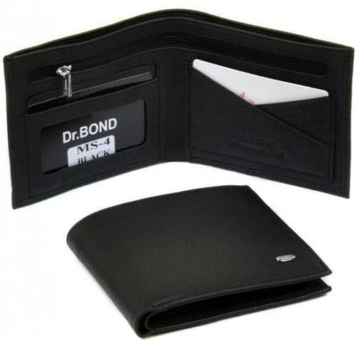 Удивительный мужской кошелек без застежки из натуральной кожи dr.Bond MS-4 black (черный)