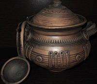 Супница глиняная с черпаком (косичка) 2 л
