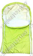 Зимний меховой конверт на выписку, в коляску, в санки (салатовый)