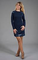 Теплое женское платье из стеганного трикотажа с вставками из кожи